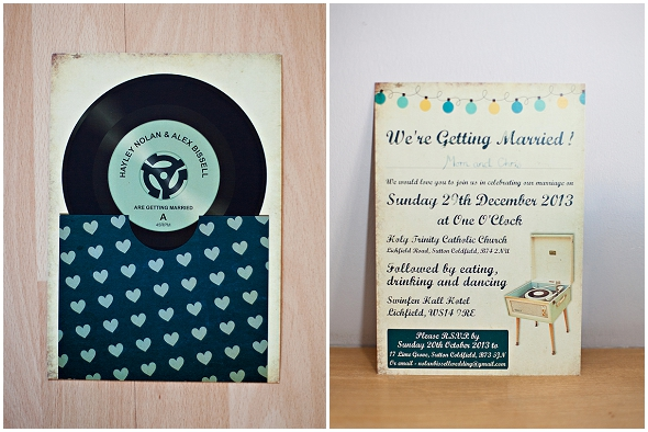 vinyl record wedding invitation