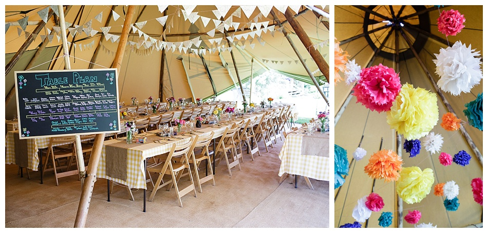 colourful tipi wedding at Talton Lodge