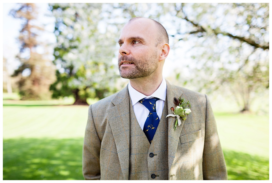 Groom in tweed at Ettington Park