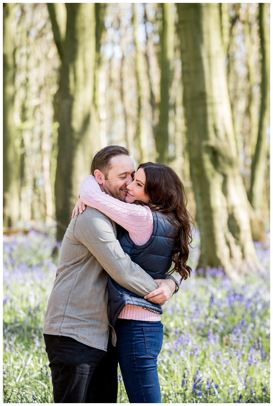 spring bluebells pre wedding shoot