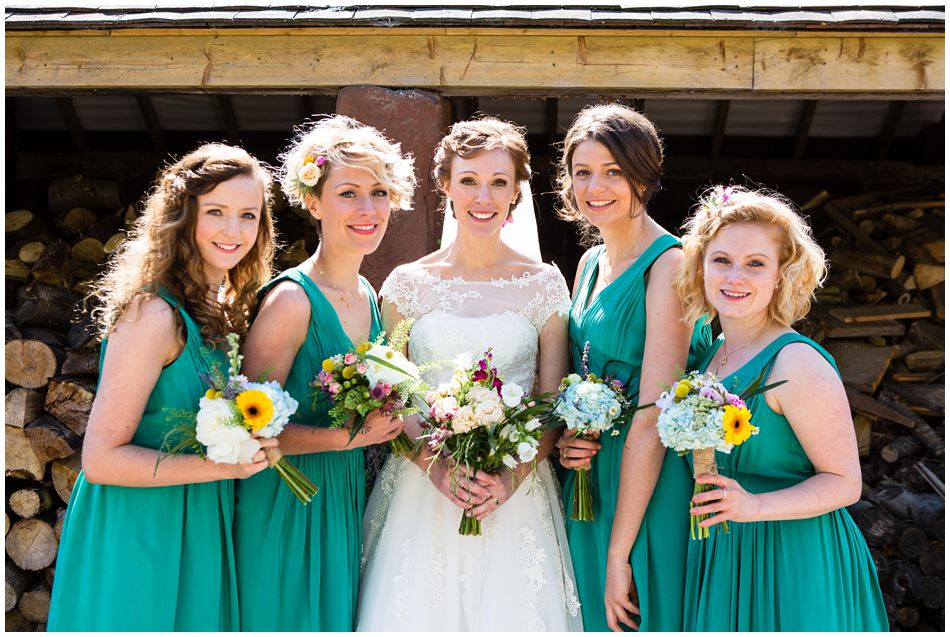 Bridesmaids in Boden dresses