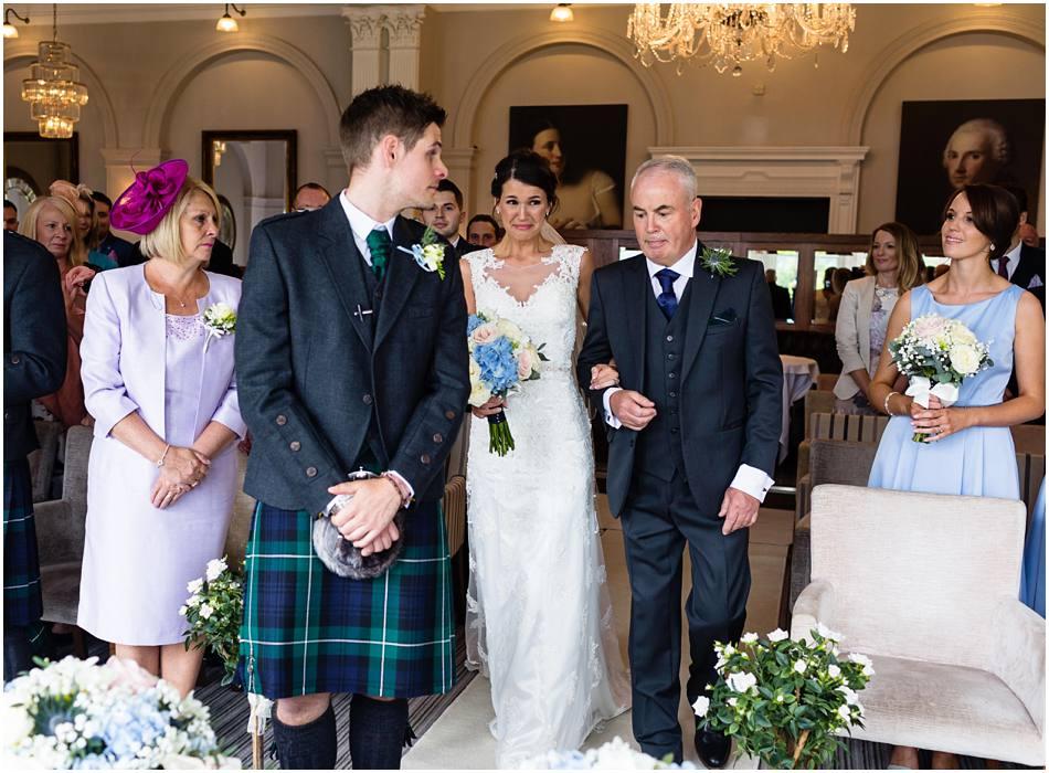 wedding ceremony at Laura Ashley Hotel, Belsfield