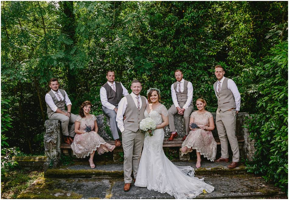 editorial group photo of the Bridal Party at a relaxed wedding at Hampton Manor
