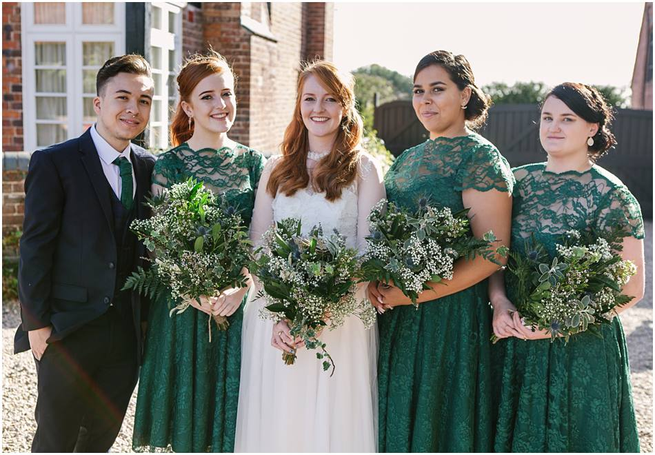 Bride with Bridesmaids wearing green lace vintage style dresses