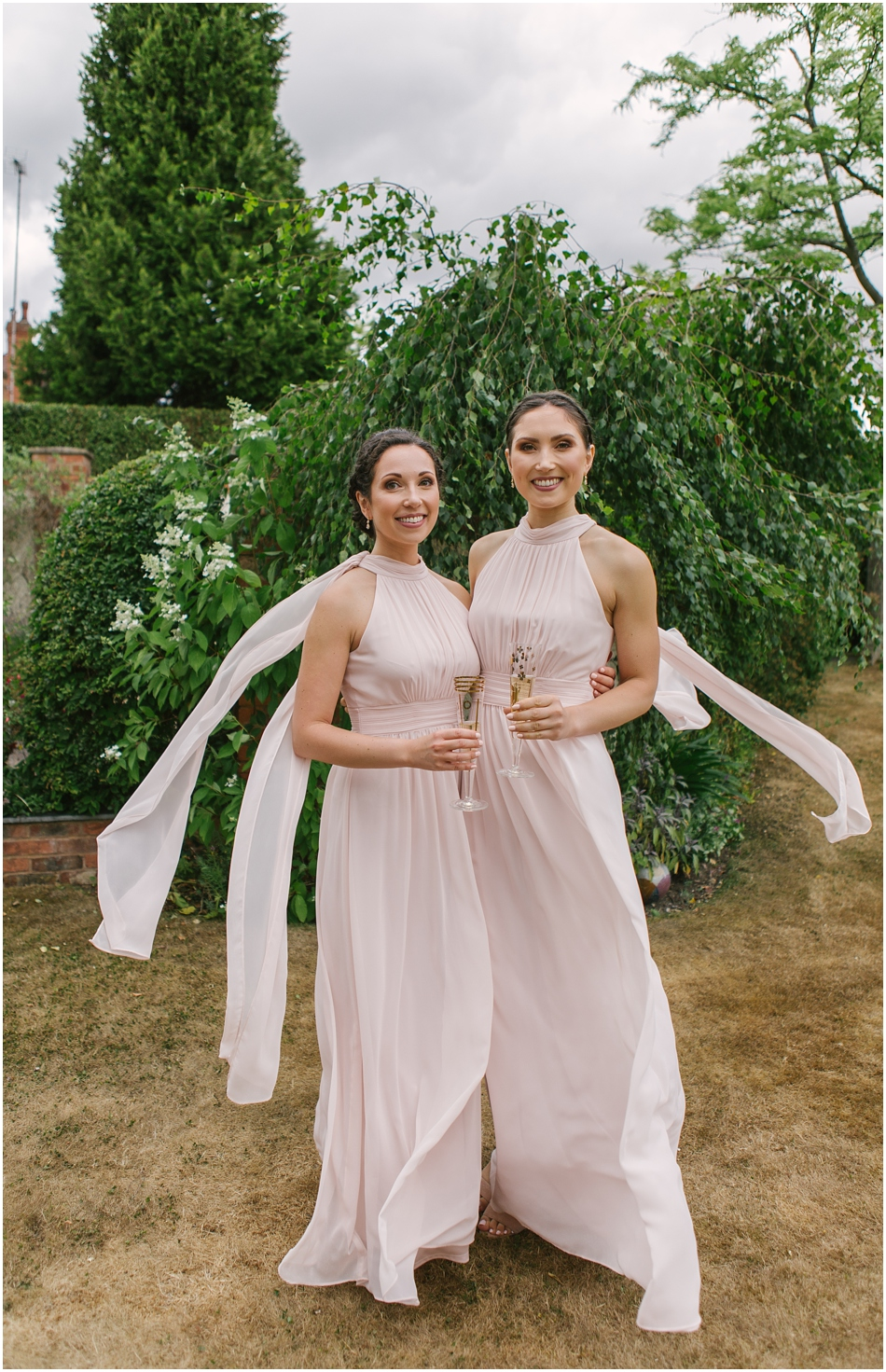Bridesmaids in blush pink at Compton Verney wedding
