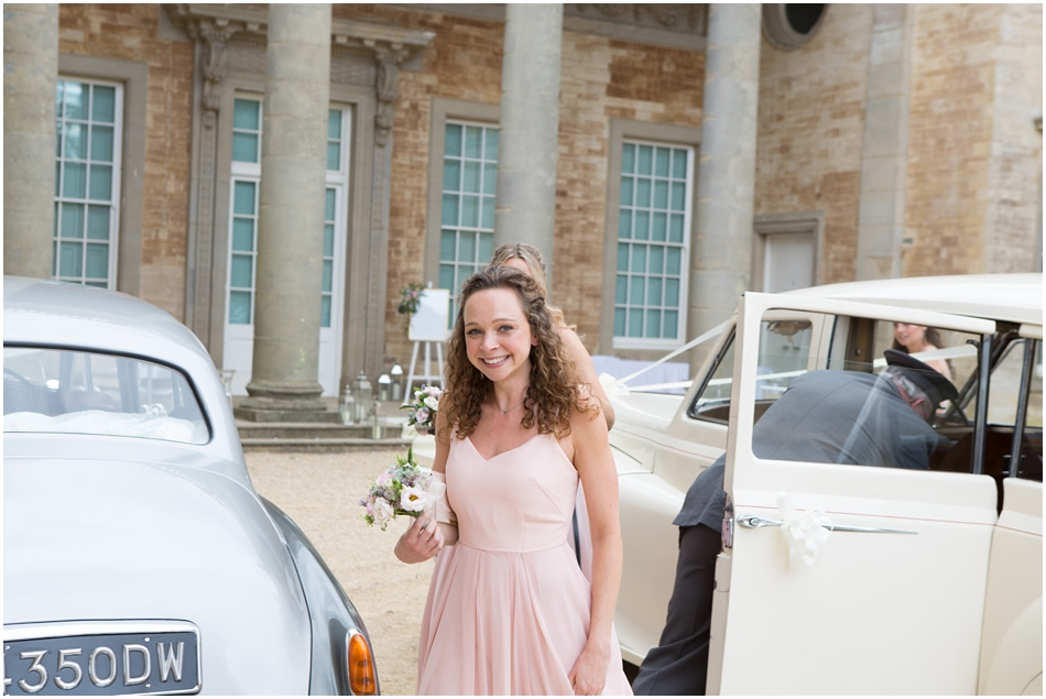 Bridesmaids arriving in style at a Compton Verney wedding