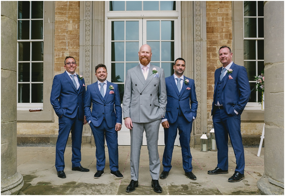 Compton Verney wedding photography; Groom and Groomsmen group photo
