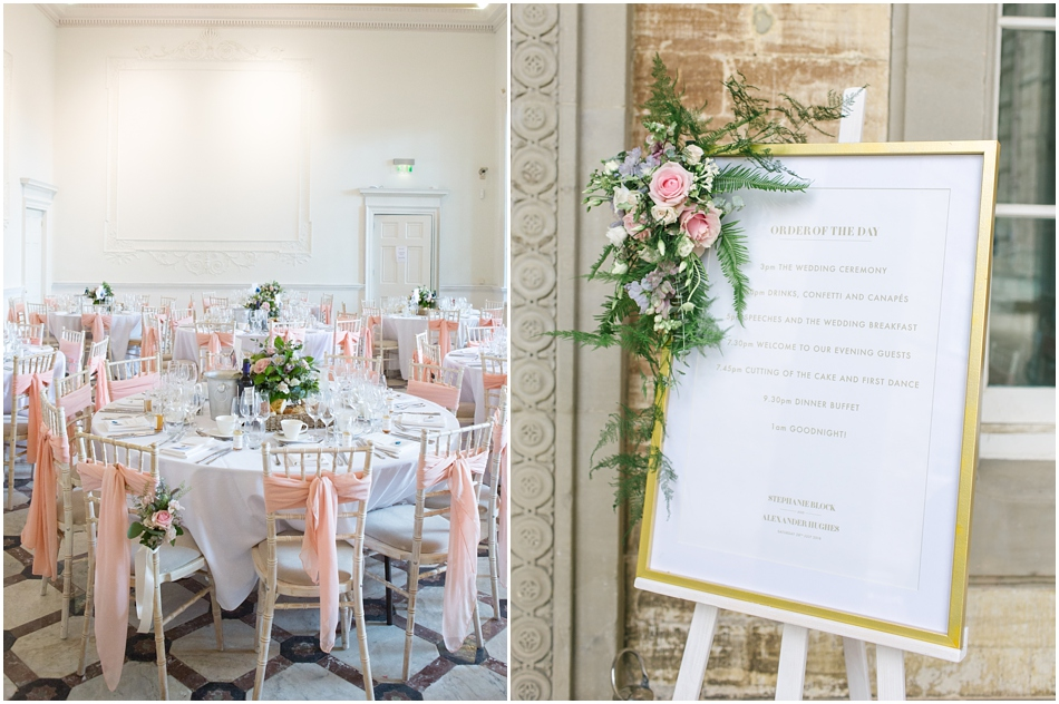 Blush pink chair ties with white linen at this classic wedding at Compton Verney