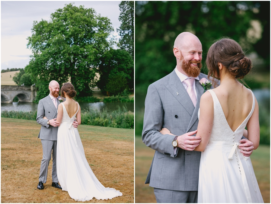 Bride and Groom portrait in front of the lake, at their Compton Verney wedding