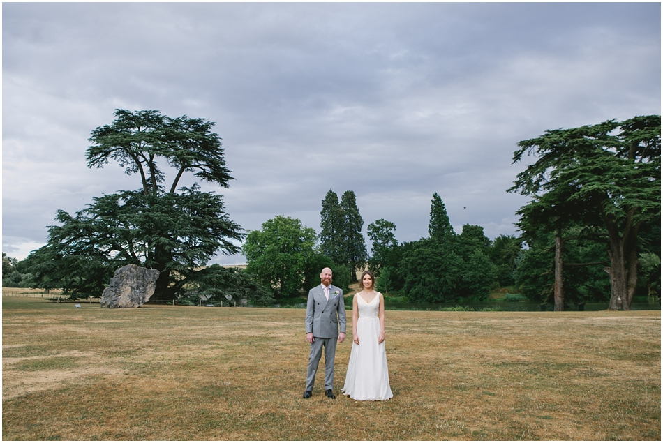 Compton Verney wedding photography; Bride and Groom portrait on the lawn