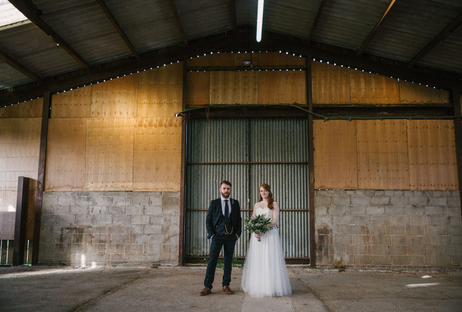 Bride & Groom portrait at their Curradine Barns wedding venue