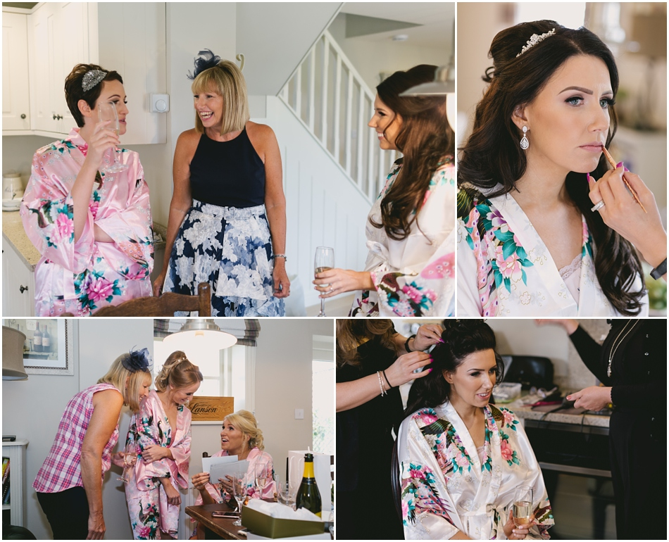 Bride and Bridesmaids getting ready at Willington Lodge before a romantic Iscoyd Park wedding