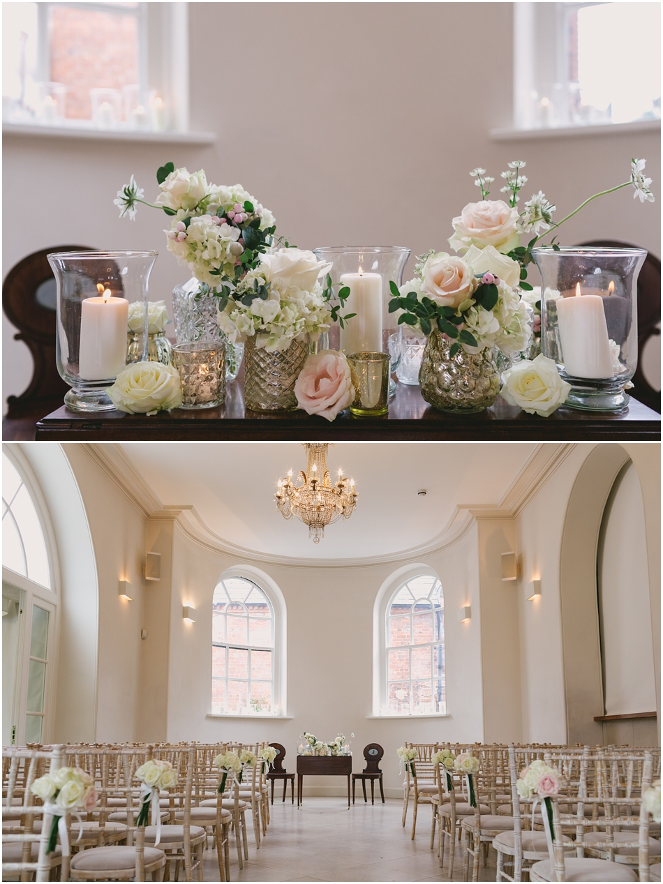 romantic Iscoyd Park wedding photography; ceremony room decorated with roses, mercury glass and candles