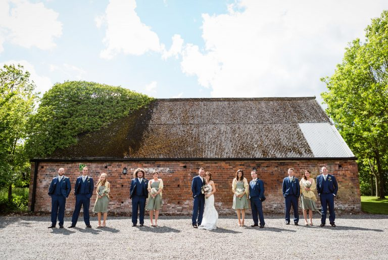 Shustoke Barn wedding photography; modern bridal party group photo