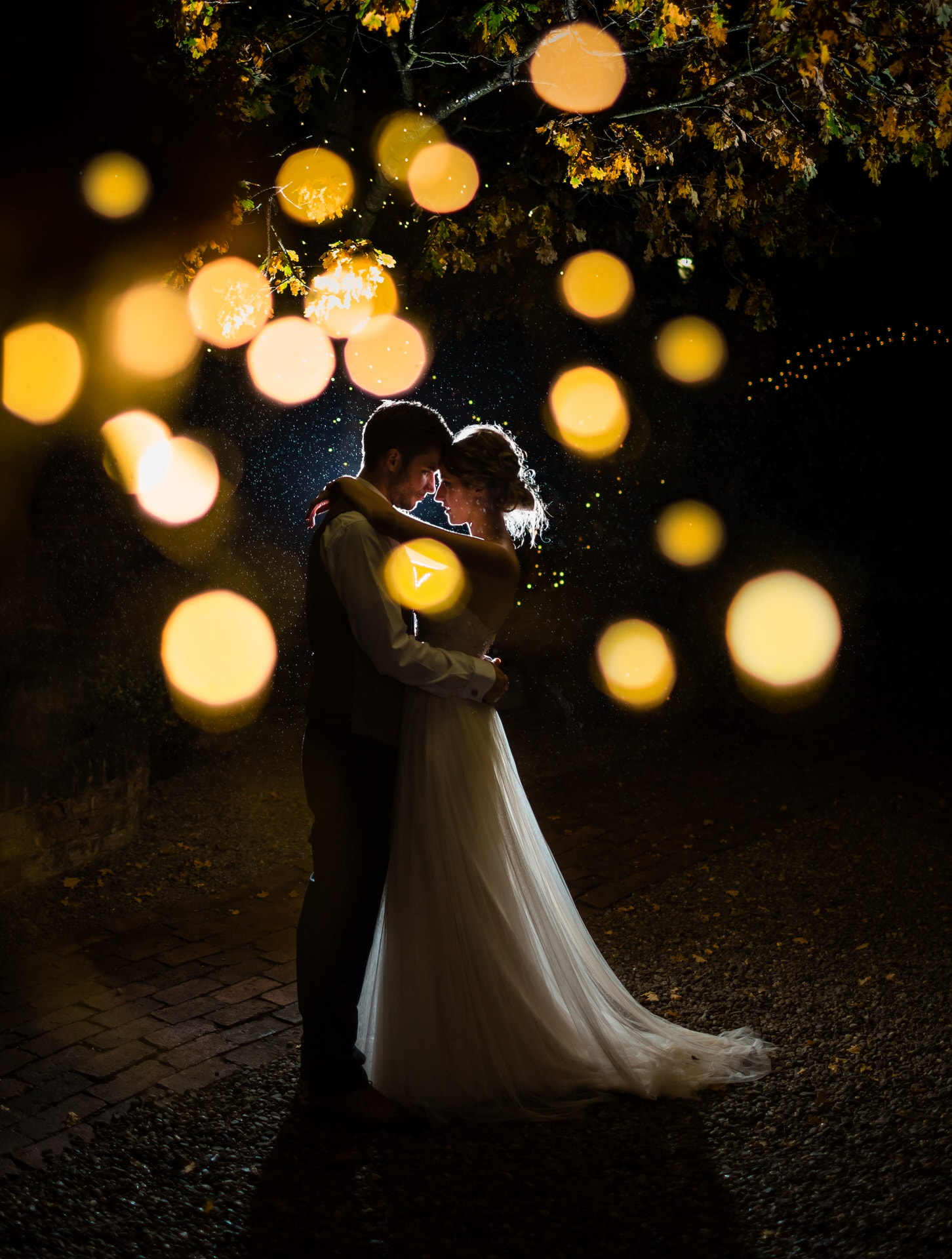 Bride and Groom portrait at night at Curradine Barns