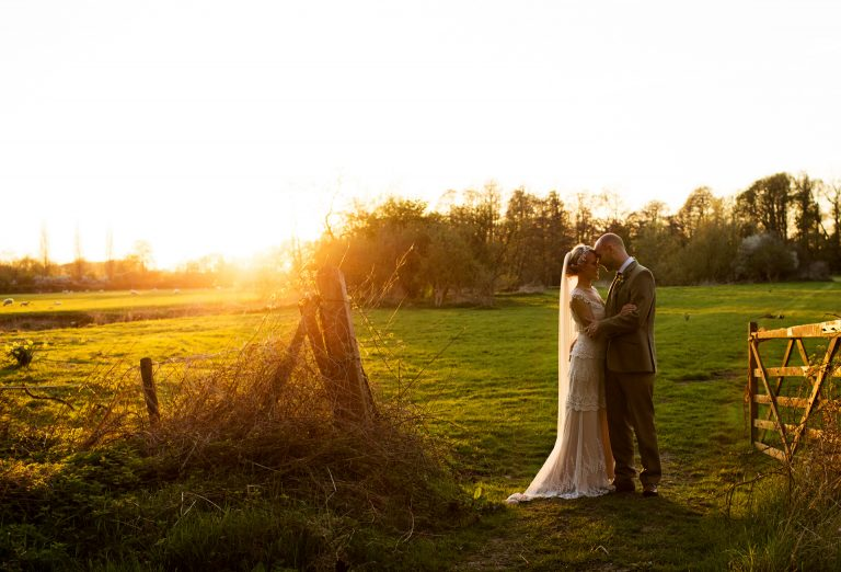 Ettington Park Hotel wedding photography; Bride and Groom at Sunset on their wedding day