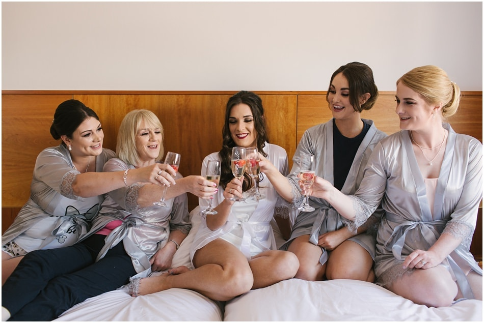 Bride and Bridesmaids wearing robes at Hope Street Hotel Liverpool