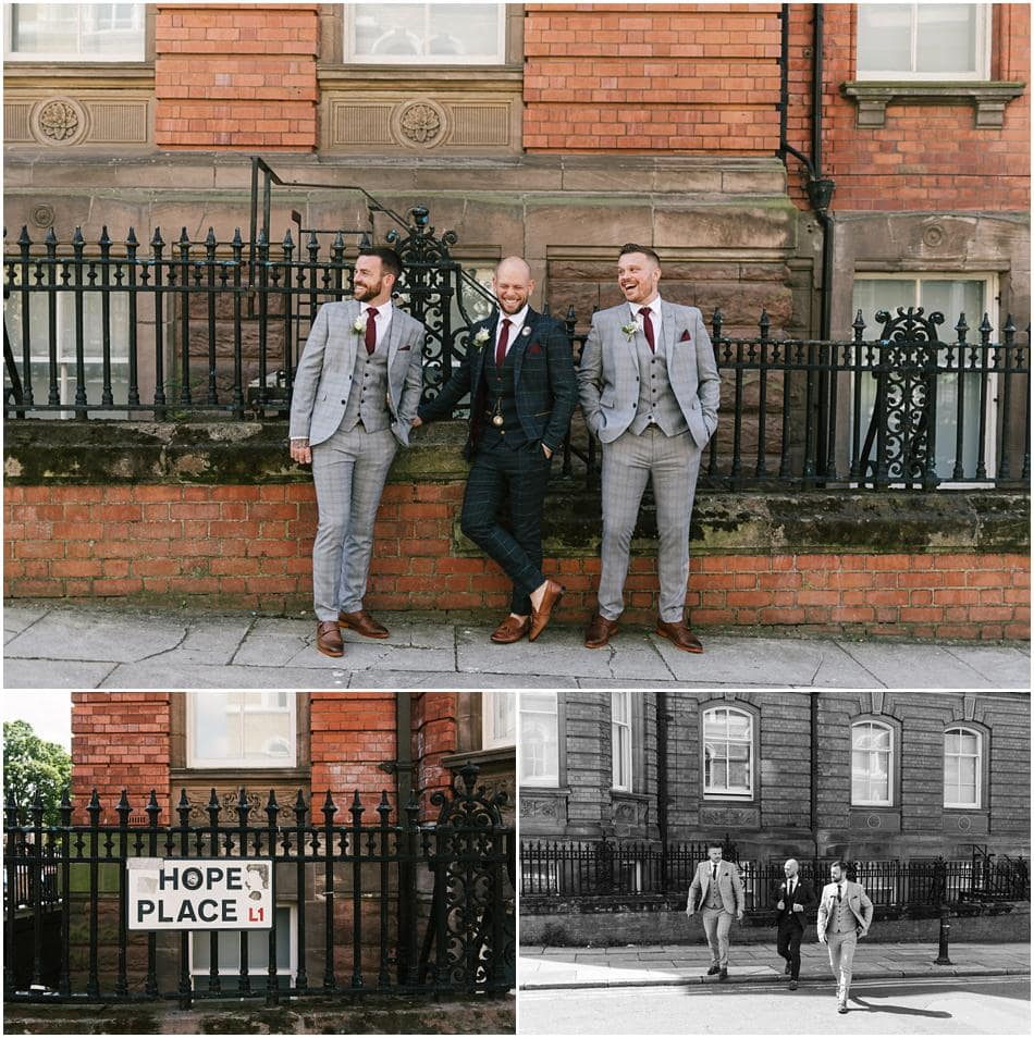 Hope Street Hotel wedding photography; Groom and Best Man in front of railings