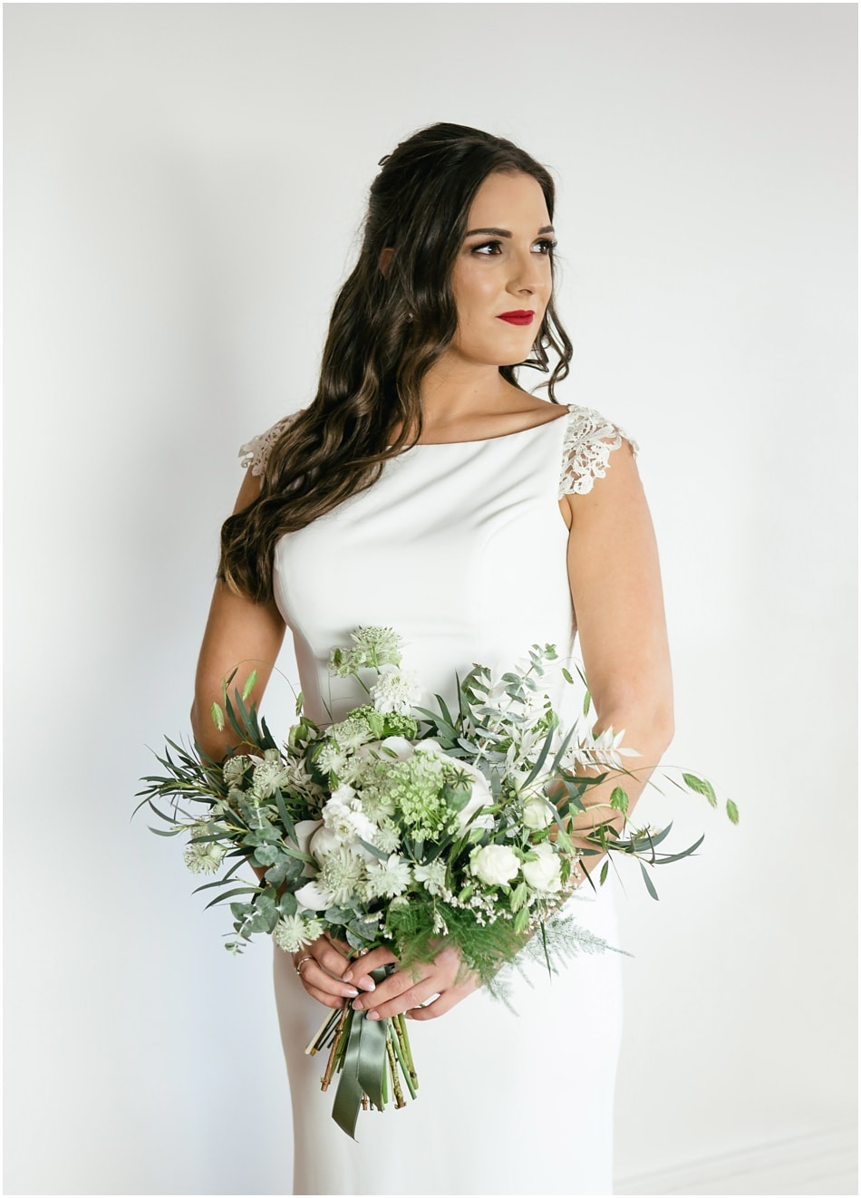 Modern wedding photography at Hope Street Hotel; Portrait of a Bride wearing red lipstick