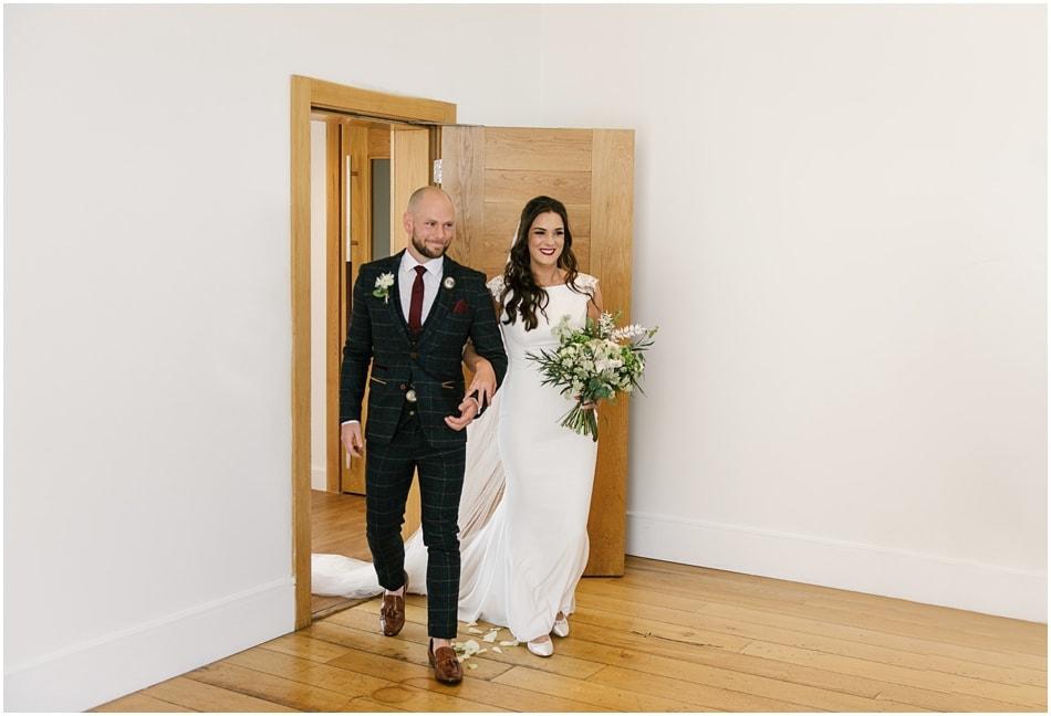 Modern Hope Street Hotel wedding photography; Bride and Groom enter ceremony room