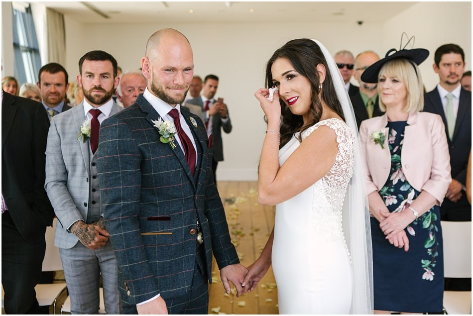 wedding photography at Hope Street Hotel, Bride and Groom during their wedding ceremony