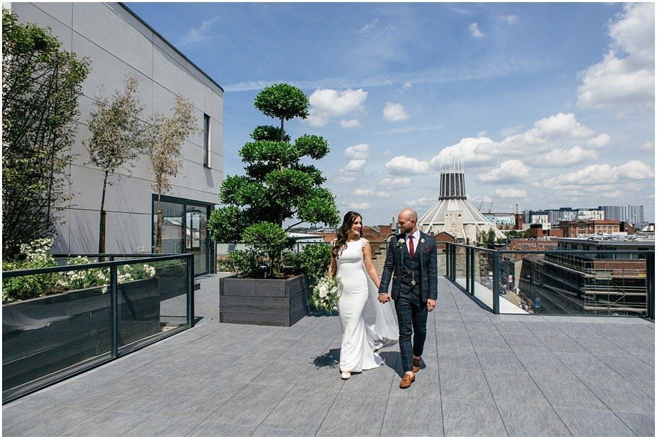Hope Street Hotel wedding photography; Bride and Groom on the roof terrace