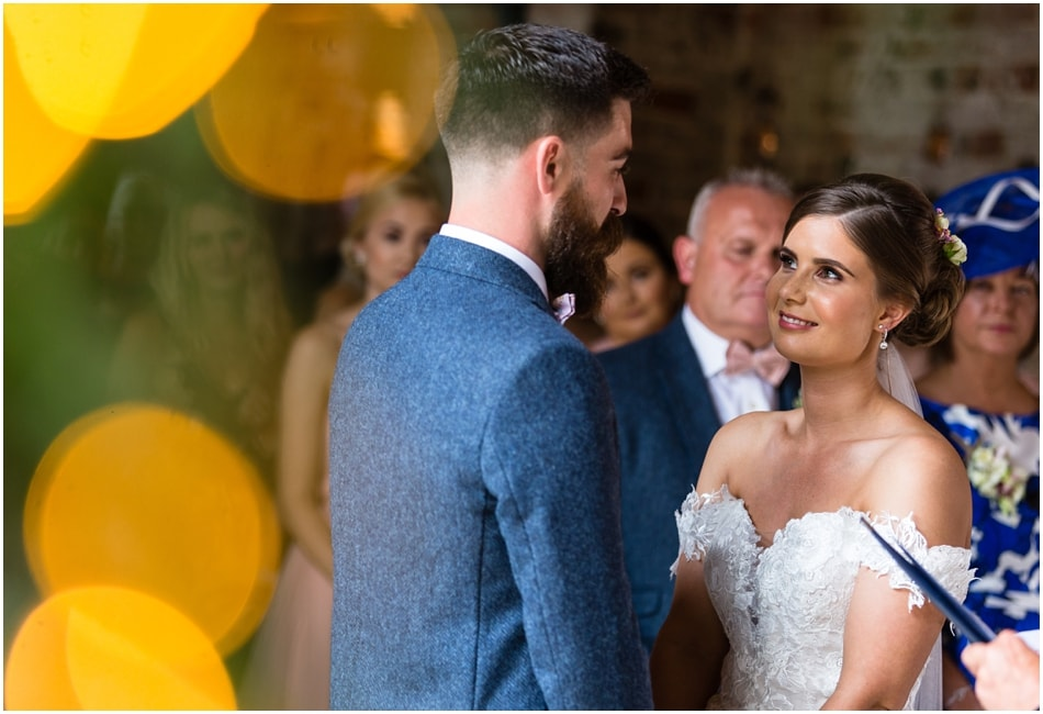 Shustoke Barn wedding photography; couple in a civil ceremony