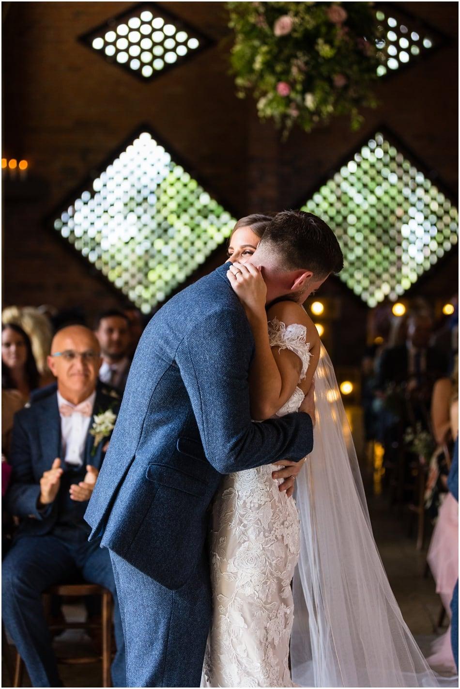 Bride & Groom just married in civil ceremony at Shustoke Barn wedding