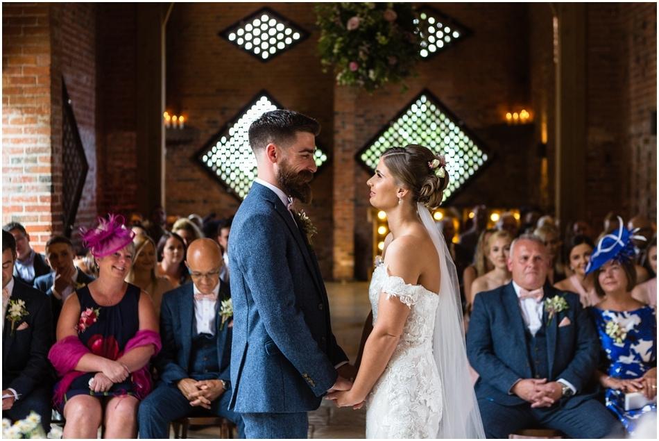 Bride & Groom during their civil ceremony at Shustoke Barn