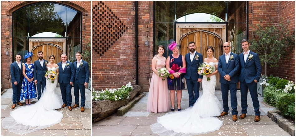 shustoke Barn wedding photography; family group photos in the courtyard