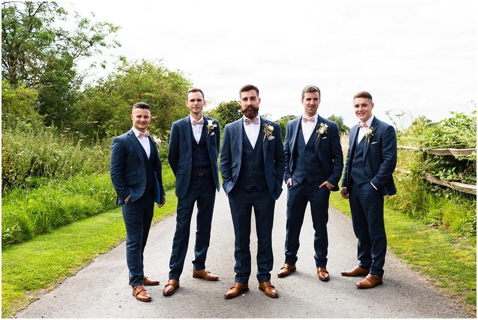 Shustoke Barn wedding photography | group photo of Groom with his Groomsmen