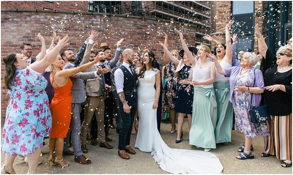 Siren wedding photography; confetti photo