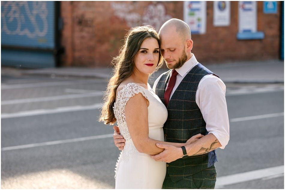 Siren wedding photography; Bride and Groom portrait in Liverpool Baltic quarter