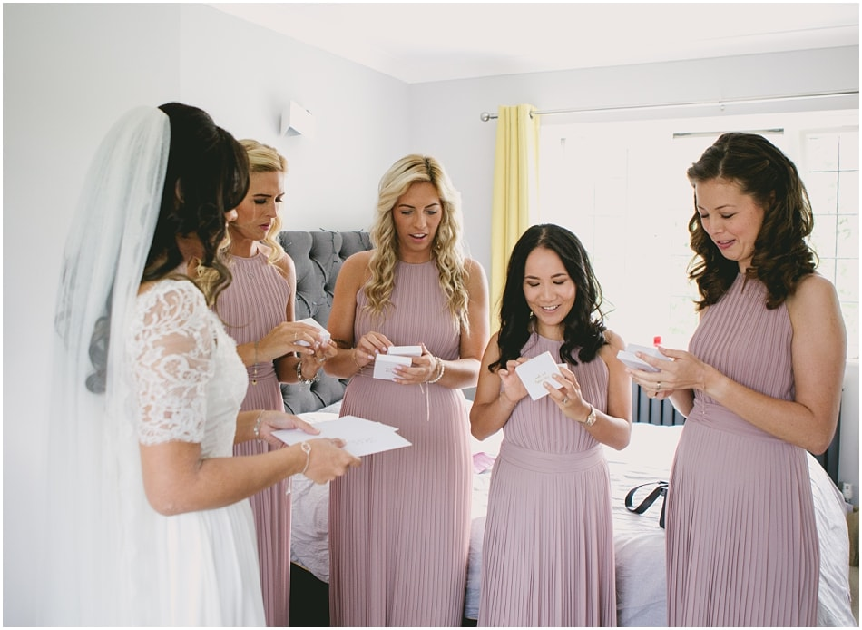 Bride giving the Bridesmaids gifts on the morning of the wedding