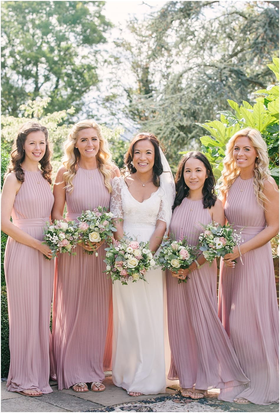 Gorcott Hall wedding photography; Bride and Bridesmaids wearing Dana Bolton and blush pink dresses