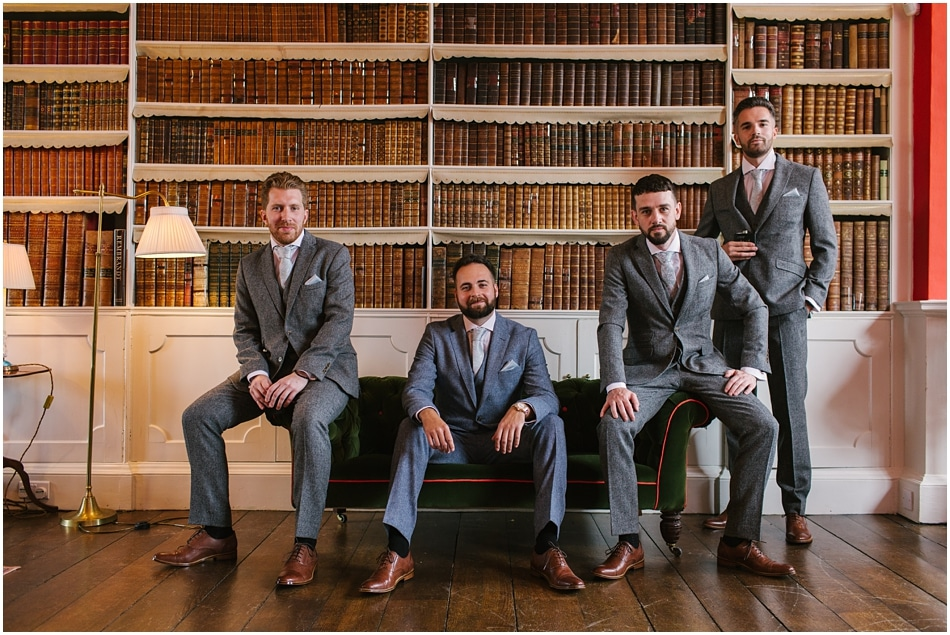 Groom and Groomsmen in the Iscoyd Park Library