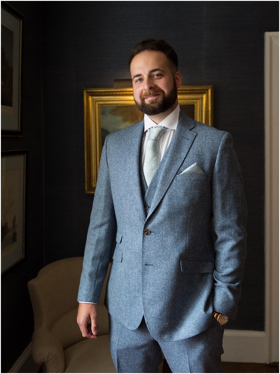 Groom portrait at Iscoyd Park wedding