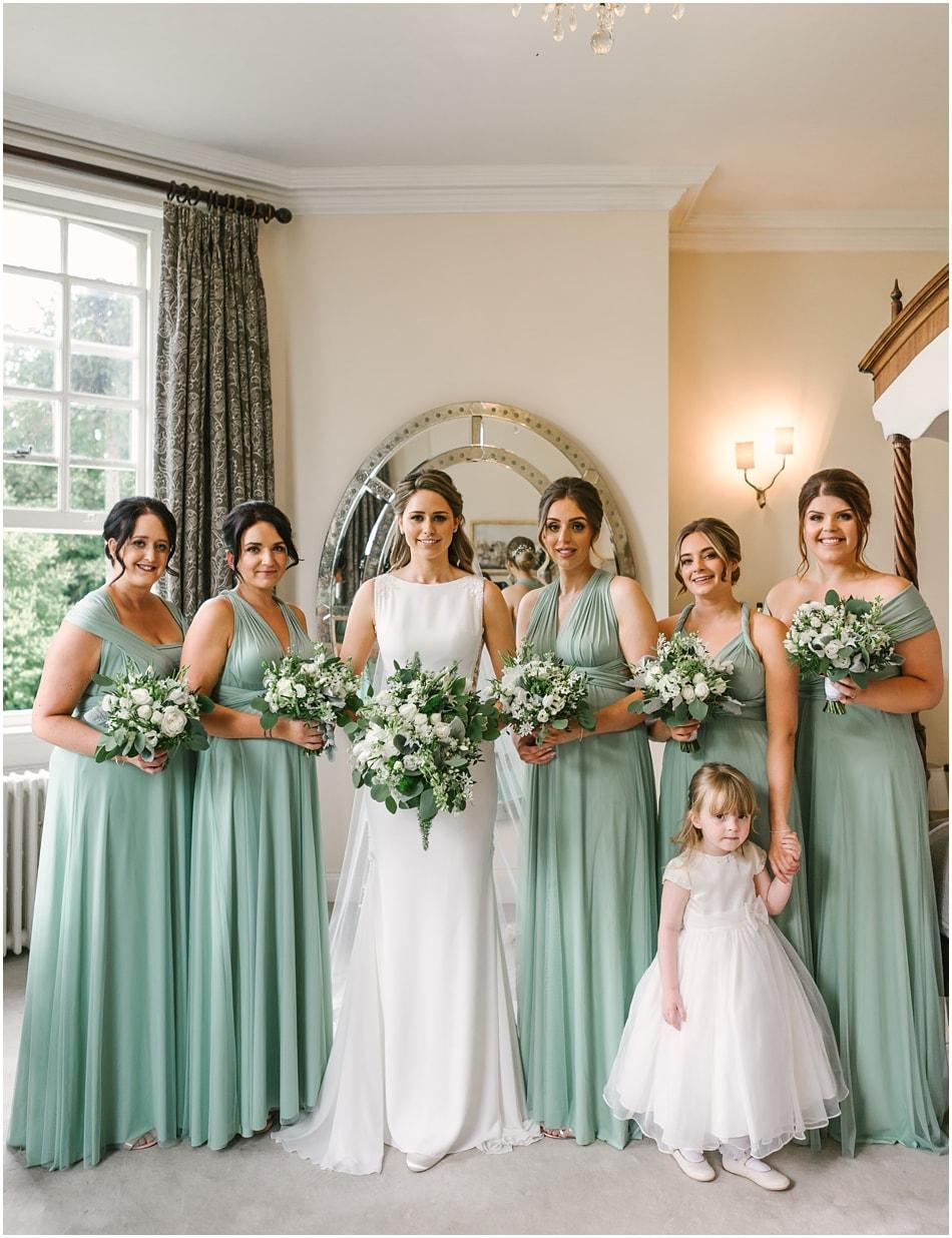 Bride and Bridesmaids in the Bridal Suite at Iscoyd Park wedding