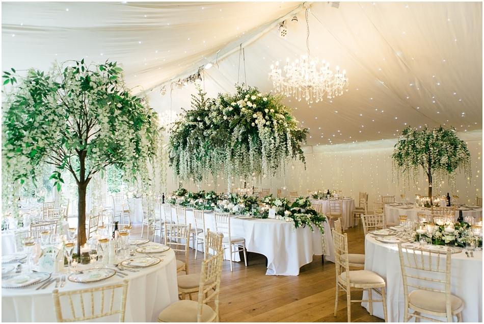 Red Floral Architecture Wedding Flowers at Iscoyd Park