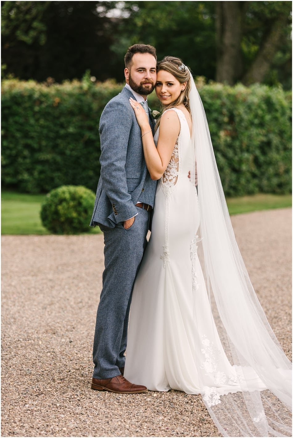 Pronovias fitted dress with lace side panel for an Iscoyd Park Bride