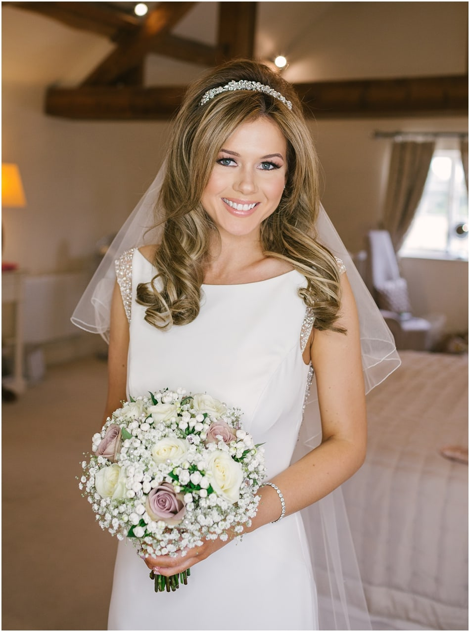 Happy beautiful Bridal portrait before a country Alrewas Hayes wedding