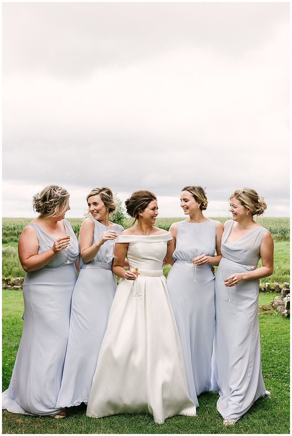 Bride and Bridesmaids at Lilleshall Abbey, Shropshire