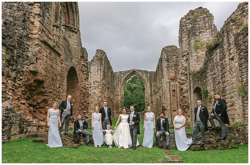 Modern Bridal party group photo at Lilleshall Abbey | Shropshire wedding photography