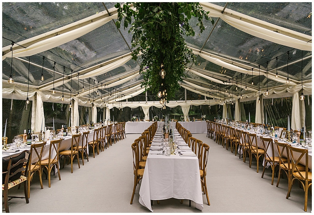Woodland Marquee Reception with Eddison light bulbs