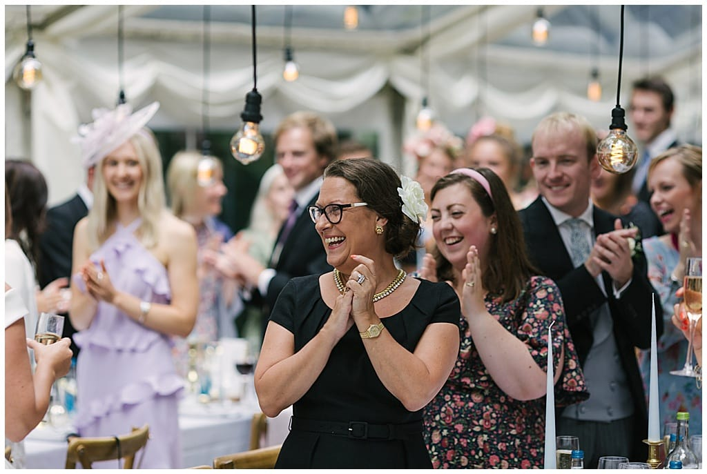 Speeches in a Woodland Marquee Reception with Eddison light bulbs