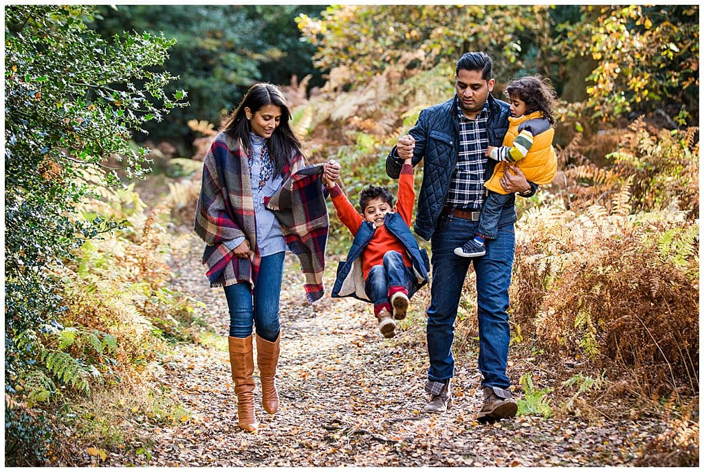 natural family photography with autumn colours