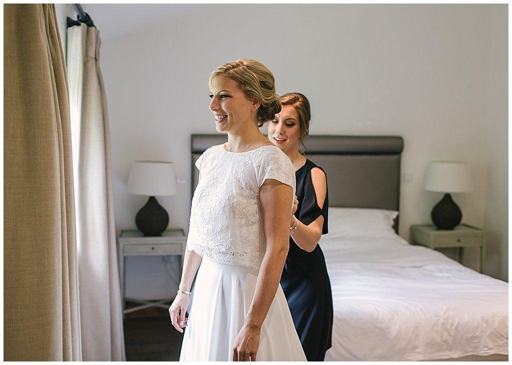 Bride getting ready at a small wedding at Eckington Manor