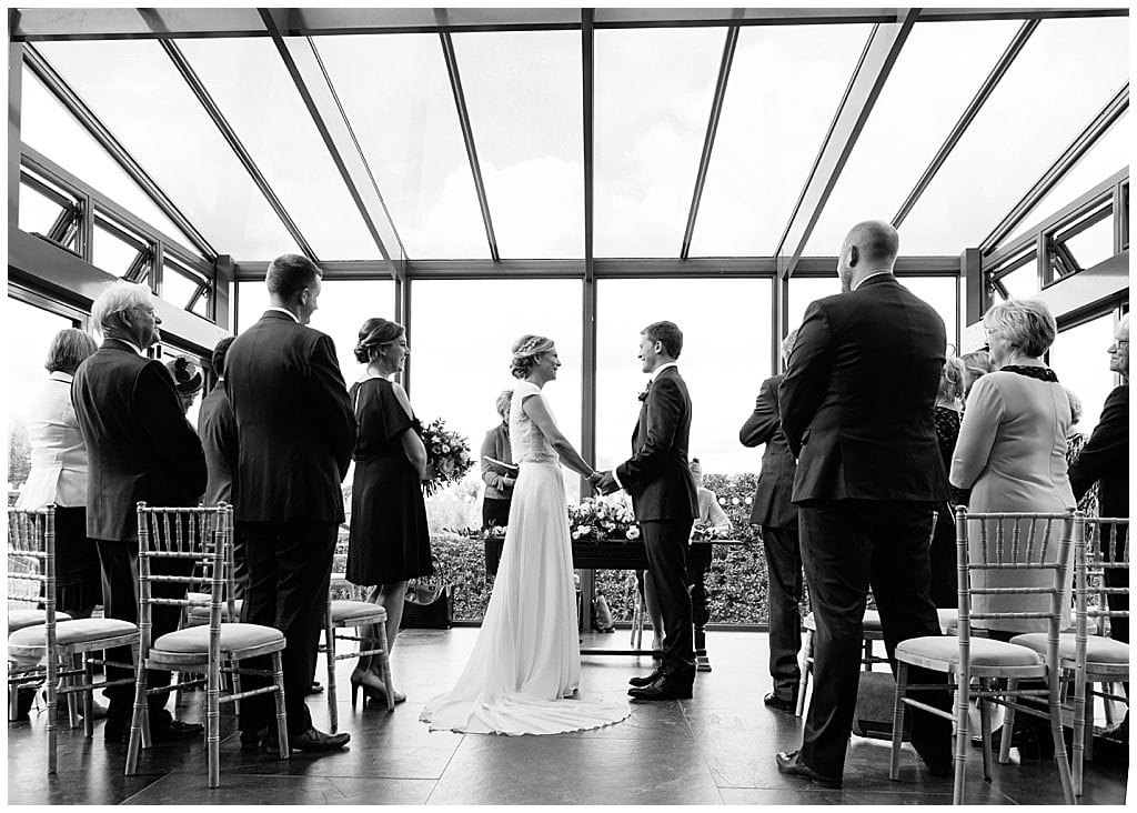 small and intimate barn wedding ceremony in Worcestershire